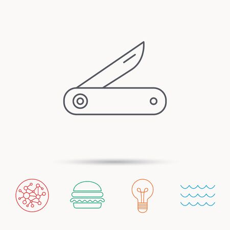 knive: Multitool knife icon. Multifunction tool sign. Hiking equipment symbol. Global connect network, ocean wave and burger icons. Lightbulb lamp symbol. Illustration