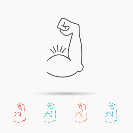 strong arm: Biceps muscle icon. Bodybuilder strong arm sign. Weightlifting fitness symbol. Linear icons on white background. Illustration