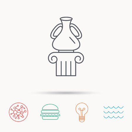 antique vase: Museum icon. Antique vase on pillar sign. Global connect network, ocean wave and burger icons. Lightbulb lamp symbol.