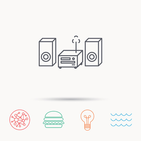 cd recorder: Music center icon. Stereo system sign. Global connect network, ocean wave and burger icons. Lightbulb lamp symbol.