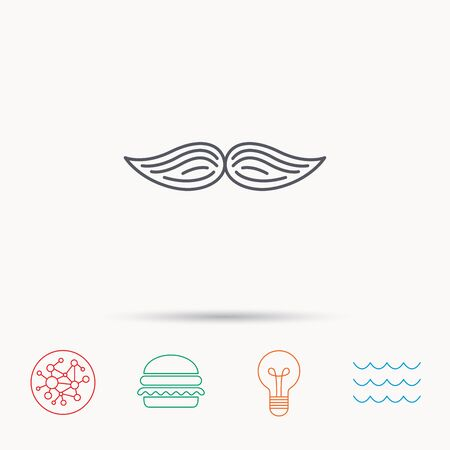 gent: Mustache icon. Hipster symbol. Gentleman sign. Global connect network, ocean wave and burger icons. Lightbulb lamp symbol.