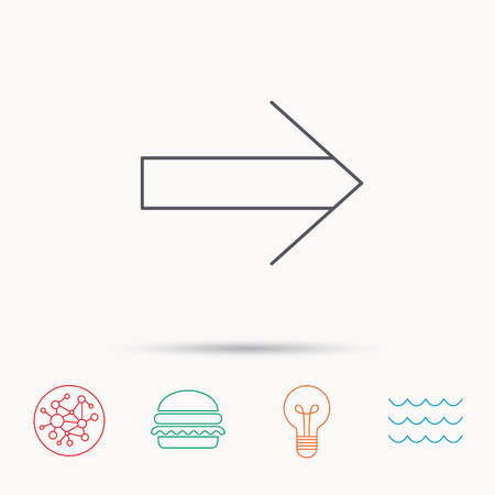 global direction: Next arrow icon. Forward sign. Right direction symbol. Global connect network, ocean wave and burger icons. Lightbulb lamp symbol.