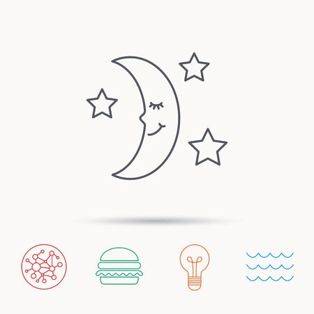 moonbeam: Night or sleep icon. Moon and stars sign. Crescent astronomy symbol. Global connect network, ocean wave and burger icons. Lightbulb lamp symbol.