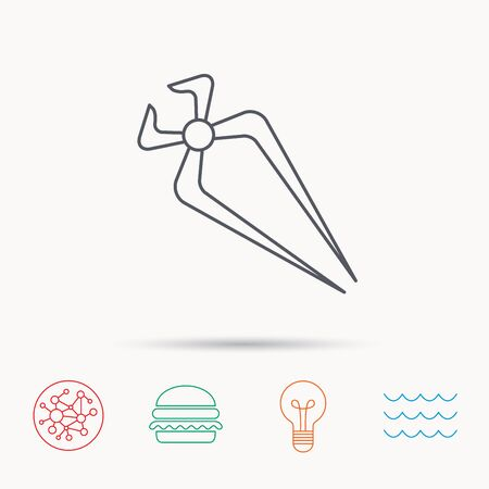 nippers: Nippers icon. Repairing service tool sign. Global connect network, ocean wave and burger icons. Lightbulb lamp symbol. Illustration