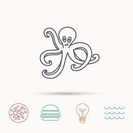devilfish: Octopus icon. Ocean devilfish sign. Global connect network, ocean wave and burger icons. Lightbulb lamp symbol. Illustration