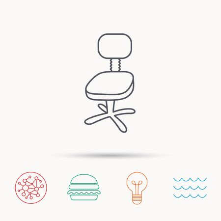ergonomic: Office chair icon. Business armchair sign. Global connect network, ocean wave and burger icons. Lightbulb lamp symbol. Illustration