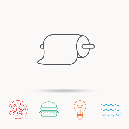 towel: Paper towels icon. Kitchen hygiene sign. Global connect network, ocean wave and burger icons. Lightbulb lamp symbol.