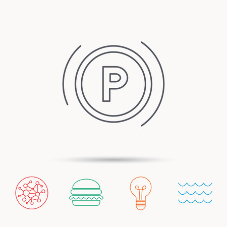 dashboard: Parking icon. Dashboard sign. Driving zone symbol. Global connect network, ocean wave and burger icons. Lightbulb lamp symbol. Illustration