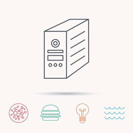 pc case: Computer server icon. PC case or tower sign. Global connect network, ocean wave and burger icons. Lightbulb lamp symbol. Illustration