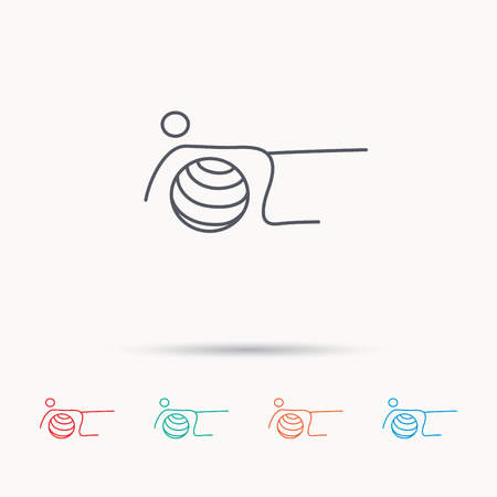 """pilates ball"": Pilates fitness sign. Gymnastic ball icon. Sport workout symbol. Linear icons on white background."