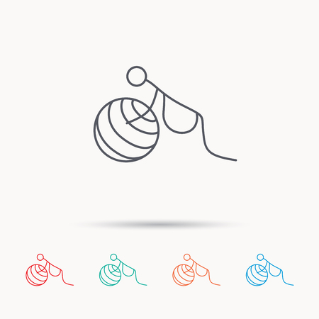 zwangerschapsyoga: Gymnastic for pregnant icon. Pilates fitness sign. Sport workout symbol. Linear icons on white background.