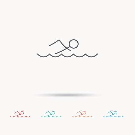 professional sport: Swimming icon. Swimmer in waves sign. Professional sport symbol. Linear icons on white background.