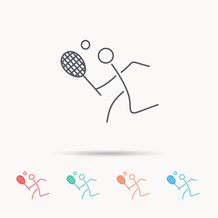professional sport: Tennis icon. Racket with ball sign. Professional sport symbol. Linear icons on white background. Illustration