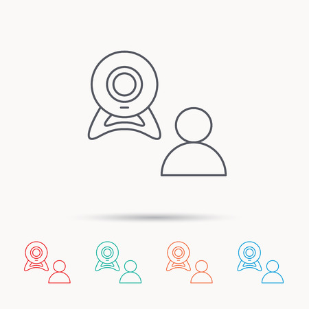 web conference: Video chat icon. Webcam chatting sign. Web conference symbol. Linear icons on white background.