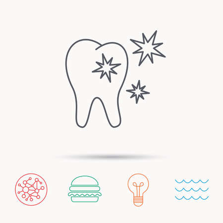 stomatologist: Healthy tooth icon. Dental protection sign. Global connect network, ocean wave and burger icons. Lightbulb lamp symbol. Illustration