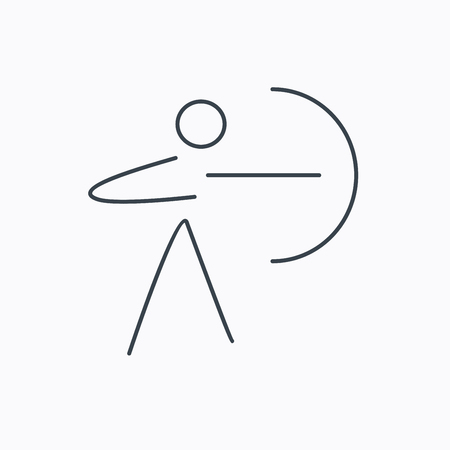 longbow: Archery sport icon. Archer with longbow sign. Aiming or targeting symbol. Linear outline icon on white background.