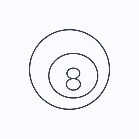 cue sports: Billiard ball icon. Pool or snooker equipment sign. Cue sports symbol. Linear outline icon on white background.