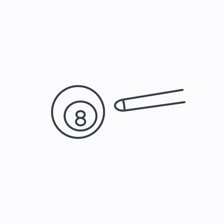 snooker cue: Billiard ball icon. Pool or snooker equipment sign. Cue sports symbol. Linear outline icon on white background.