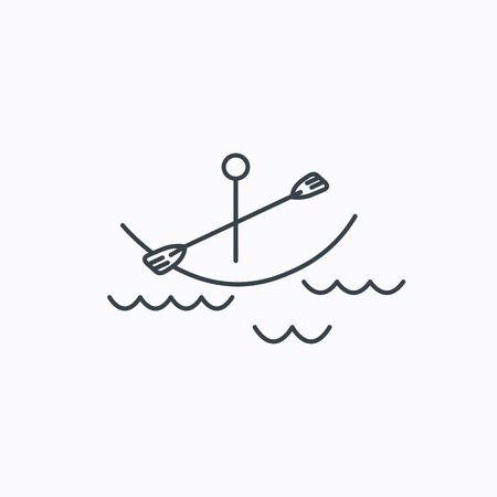 boating: Kayaking on waves icon. Boating or rafting sign. Canoeing extreme sport symbol. Linear outline icon on white background.