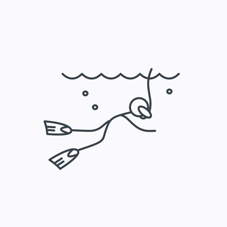 swimming underwater: Diving icon. Swimming underwater with tube sign. Scuba diving symbol. Linear outline icon on white background. Illustration