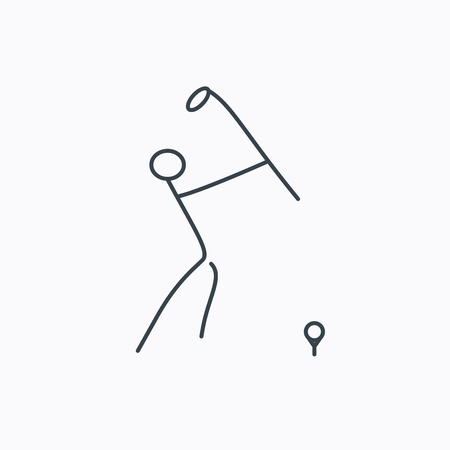 golfing: Golf club icon. Golfing sport sign. Professional equipment symbol. Linear outline icon on white background. Illustration