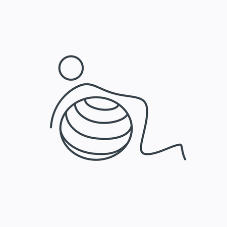 """pilates ball"": Gymnastic ball icon. Pilates fitness sign. Sport workout symbol. Linear outline icon on white background. Illustration"