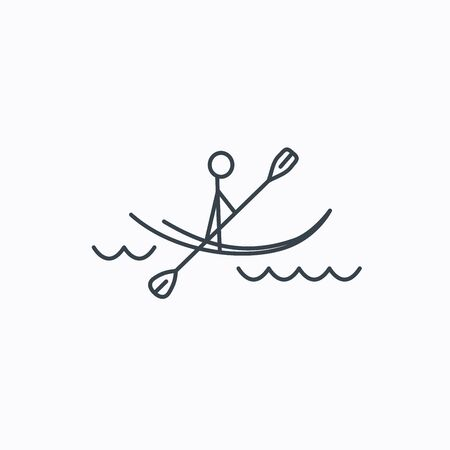 boating: Kayaking on waves icon. Rafting or canoeing sign. Boating sport symbol. Linear outline icon on white background. Illustration