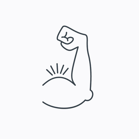 Biceps muscle icon. Bodybuilder strong arm sign. Weightlifting fitness symbol. Linear outline icon on white background.