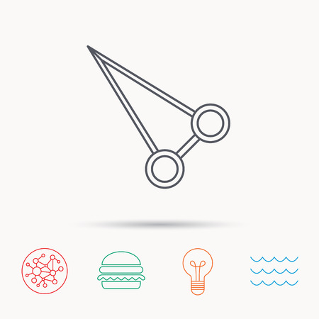 Pean forceps icon. Medical surgery tool sign. Global connect network, ocean wave and burger icons. Lightbulb lamp symbol. Illustration