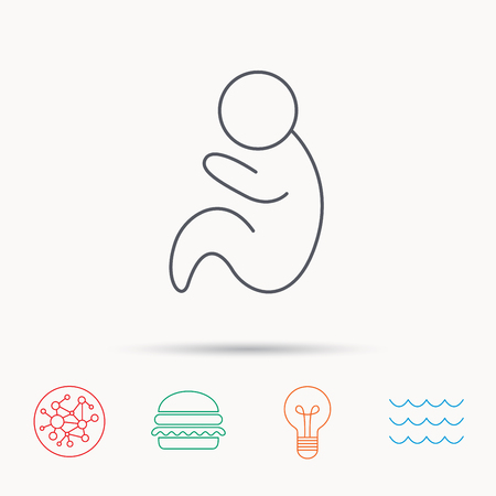 pediatrics: Baby infant icon. Pediatrics sign. Newborn child symbol. Global connect network, ocean wave and burger icons. Lightbulb lamp symbol.