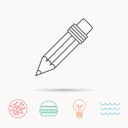eraser mark: Pencil icon. Drawing tool sign. Global connect network, ocean wave and burger icons. Lightbulb lamp symbol. Illustration