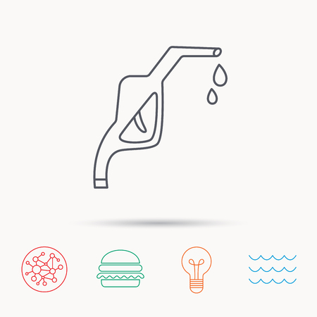 gas lamp: Gasoline pump nozzle icon. Gas or Petrol station sign. Global connect network, ocean wave and burger icons. Lightbulb lamp symbol.