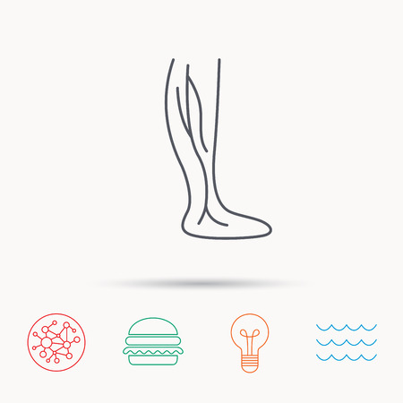 varicose veins: Phlebology icon. Leg veins sign. Varicose or thrombosis symbol. Global connect network, ocean wave and burger icons. Lightbulb lamp symbol. Illustration