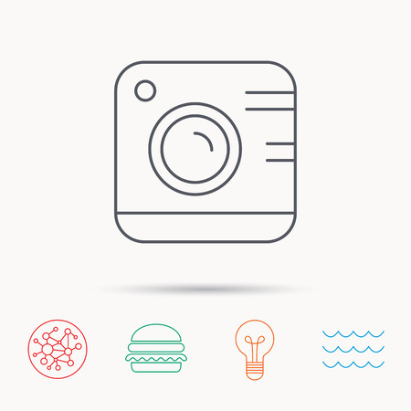 professional equipment: Vintage photo camera icon. Photography sign. Professional equipment symbol. Global connect network, ocean wave and burger icons. Lightbulb lamp symbol.