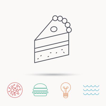 porcion de pastel: Pedazo de torta icono. signo postre dulce. Pasteler�a s�mbolo de los alimentos. la red, las olas oce�nicas y Burger iconos de conexi�n globales. s�mbolo de luz de la bombilla.