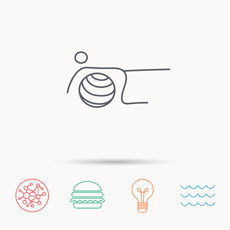 """pilates ball"": Pilates fitness sign. Gymnastic ball icon. Sport workout symbol. Global connect network, ocean wave and burger icons. Lightbulb lamp symbol."