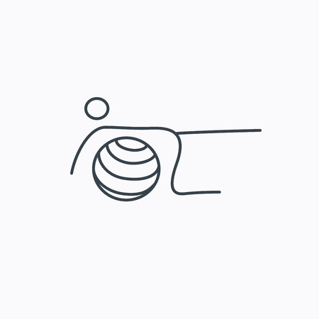 """pilates ball"": Pilates fitness sign. Gymnastic ball icon. Sport workout symbol. Linear outline icon on white background. Illustration"