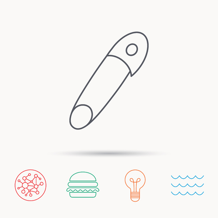 attachment: Pin icon. Stationery sign. Attachment symbol. Global connect network, ocean wave and burger icons. Lightbulb lamp symbol. Illustration