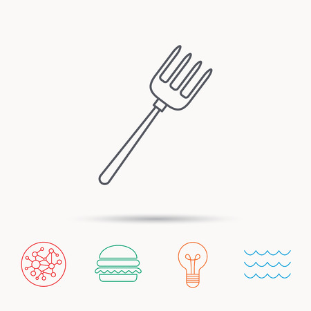 pitchfork: Pitchfork icon. Agriculture sign symbol. Global connect network, ocean wave and burger icons. Lightbulb lamp symbol.