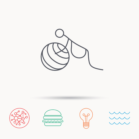 zwangerschapsyoga: Gymnastic for pregnant icon. Pilates fitness sign. Sport workout symbol. Global connect network, ocean wave and burger icons. Lightbulb lamp symbol.