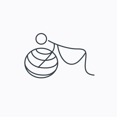 pregnancy exercise: Gymnastic for pregnant icon. Pilates fitness sign. Sport workout symbol. Linear outline icon on white background.