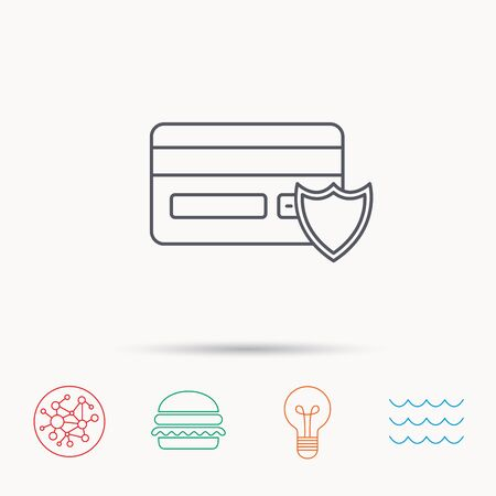 secure icon: Protection credit card icon. Shopping sign. Global connect network, ocean wave and burger icons. Lightbulb lamp symbol.