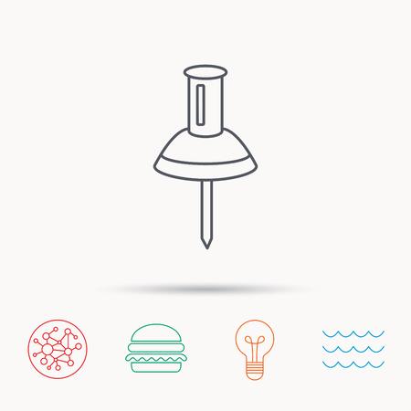 office stationery: Pushpin icon. Pin tool sign. Office stationery symbol. Global connect network, ocean wave and burger icons. Lightbulb lamp symbol.
