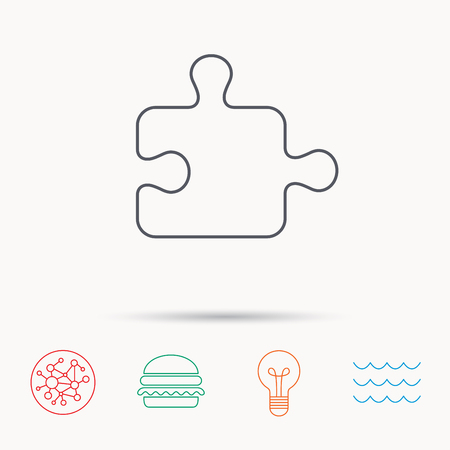 boardgames: Puzzle icon. Jigsaw logical game sign. Boardgame piece symbol. Global connect network, ocean wave and burger icons. Lightbulb lamp symbol.
