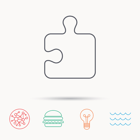 logical: Puzzle icon. Jigsaw logical game sign. Boardgame piece symbol. Global connect network, ocean wave and burger icons. Lightbulb lamp symbol.