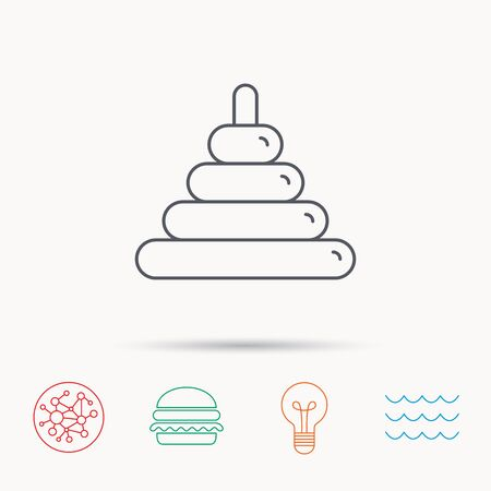 tot: Pyramid baby toy icon. Child tower game sign symbol. Global connect network, ocean wave and burger icons. Lightbulb lamp symbol.