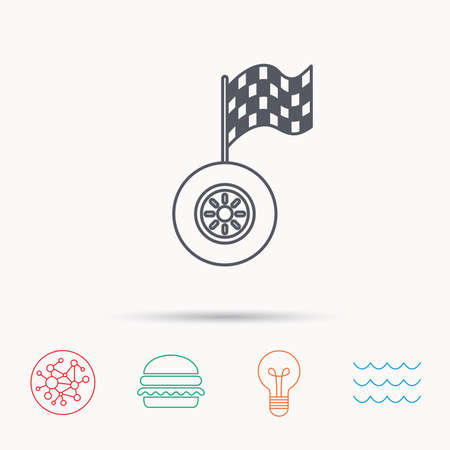 racing sign: Race icon. Wheel with racing flag sign. Global connect network, ocean wave and burger icons. Lightbulb lamp symbol.