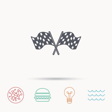 crosswise: Crosswise racing flags icon. Finishing symbol. Global connect network, ocean wave and burger icons. Lightbulb lamp symbol.