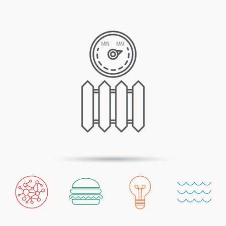 regulator: Radiator with regulator icon. Heater sign. Maximum temperature. Global connect network, ocean wave and burger icons. Lightbulb lamp symbol.