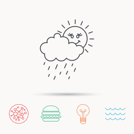 overcast: Rain and sun icon. Water drops and cloud sign. Rainy overcast day symbol. Global connect network, ocean wave and burger icons. Lightbulb lamp symbol.